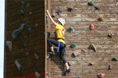 UMD student rock climbing