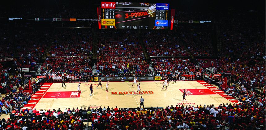 Basketball game at the Xfinity center