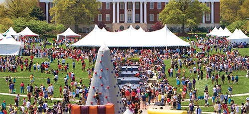 Maryland Day tent and climbing wall